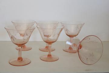 vintage pink depression glass cocktail glasses, panel optic w/ wheel cut pattern