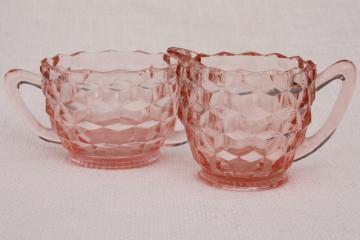 vintage pink depression glass cream & sugar set, Jeannette cubist cube pattern
