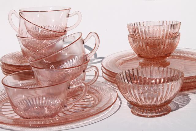 vintage pink depression glass dishes Anchor Hocking Coronation / Queen Mary ribbed glass & vintage pink depression glass dishes Anchor Hocking Coronation ...