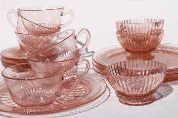 vintage pink depression glass dishes, Anchor Hocking Coronation / Queen Mary ribbed glass