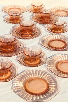 vintage pink depression glass dishes set for 8, bamboo optic octagon shape