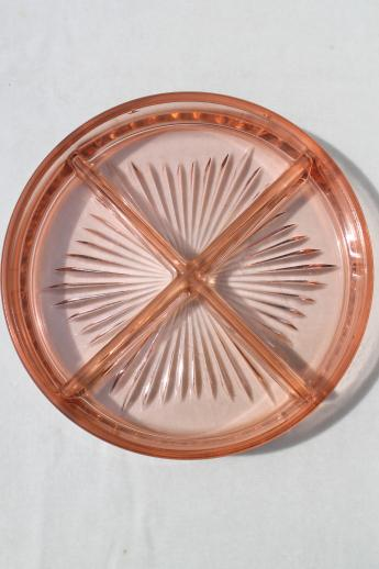 Vintage Pink Depression Glass Divided Dish Relish Tray