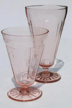 vintage pink depression glass footed tumblers, mismatched pattern glass flower vases