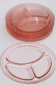 vintage pink depression glass grill plates, divided section plate heavy restaurant ware