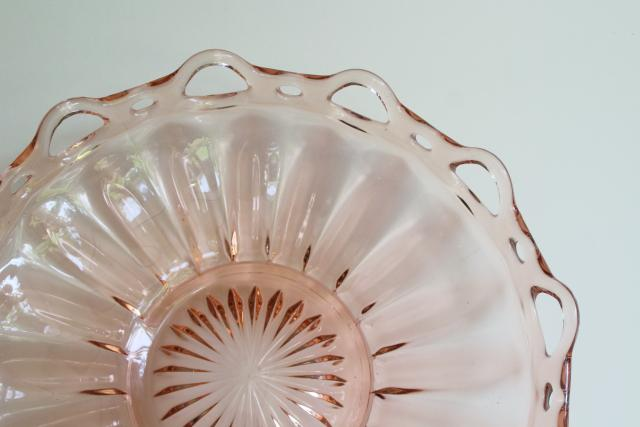 vintage pink depression glass, large bowl open lace laced edge crocheted crystal