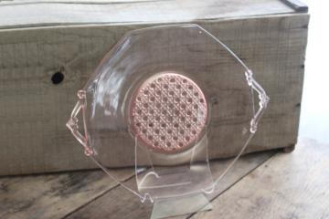 vintage pink depression glass octagon plate or serving tray, Lancaster glass
