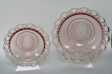 vintage pink depression glass, open lace edge bowls Anchor Hocking Old Colony pattern