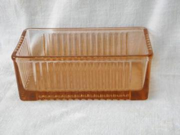 vintage pink depression glass refrigerator container or butter box