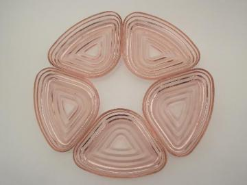 vintage pink depression  glass relish dishes, Manhattan Anchor Hocking