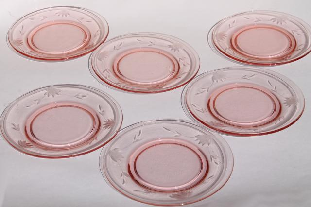 pink depression glass salad plates