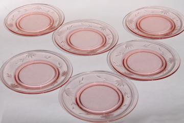 vintage pink depression glass salad plates, wheel cut flower & vines border