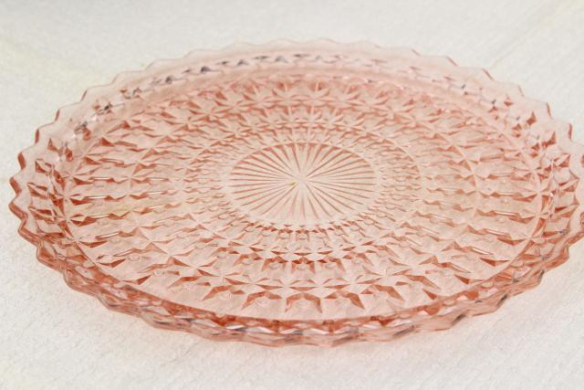 vintage pink depression glass sandwich or cake plate Jeannette holiday buttons and bows pattern Laurel Leaf Farm item no m22858 5