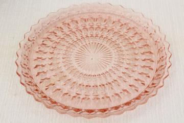 vintage pink depression glass sandwich or cake plate Jeannette holiday buttons and bows pattern