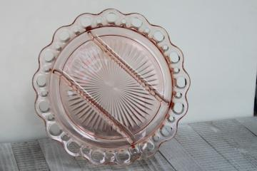 vintage pink depression glass serving tray, lace edge divided relish plate