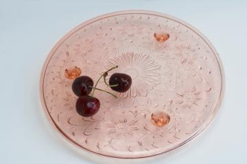 vintage pink depression glass shaggy daisy pattern cake stand, low footed plate