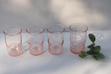 vintage pink depression glass tumblers, Macbeth Evans rib panel optic banded ring pattern