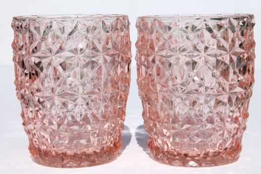 Vintage Pink Depression Glass Tumblers Buttons Bows Holiday
