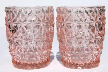 vintage pink depression glass tumblers, buttons & bows Holiday drinking glasses