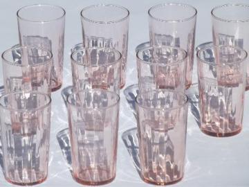 vintage pink depression glass tumblers, optic pattern paneled rib glasses