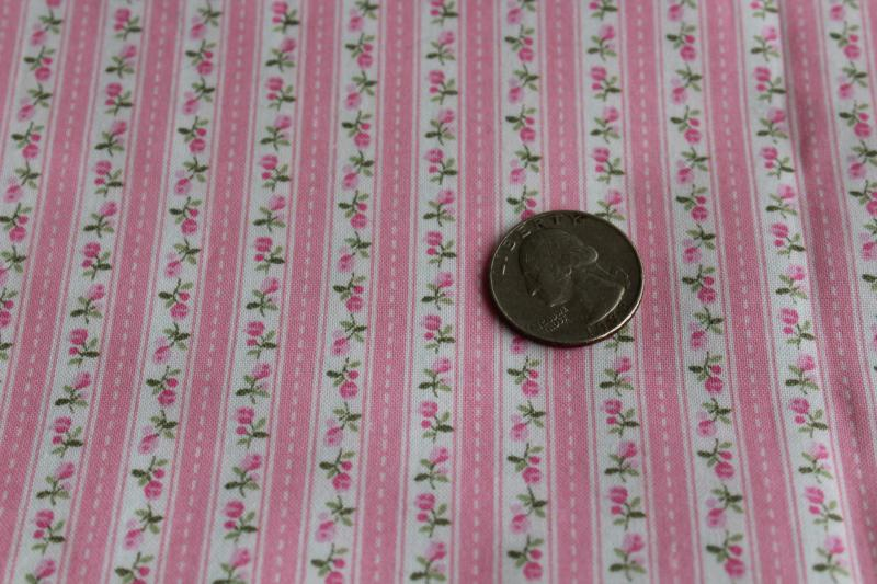 vintage pink floral striped print cotton fabric for quilting, doll clothes