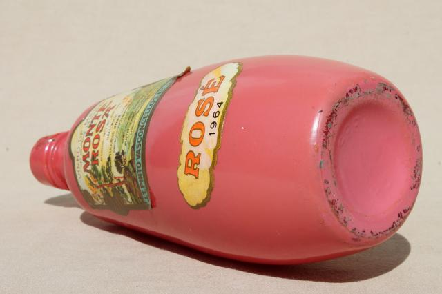 Vintage Pink Glass Rose Wine Bottle W 1964 Monte Rosa