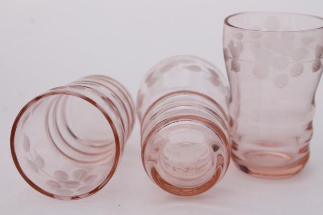 Vintage Pink Glass Shot Glasses Tiny Thimble Sized Shots