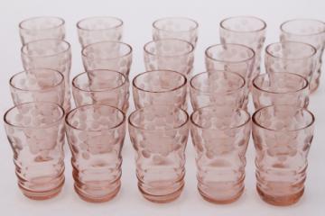 vintage pink glass shot glasses, tiny thimble sized shots w/ wheel cut flowers