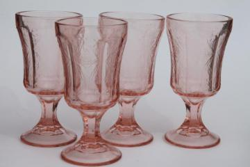 vintage pink glass water glasses, Recollection reproduction depression glass goblets