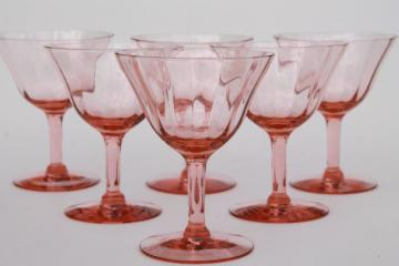 vintage pink glass wine glasses, optic pattern depression glass stemware