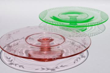 vintage pink & green depression glass cake stands, etched glass pedestal plates