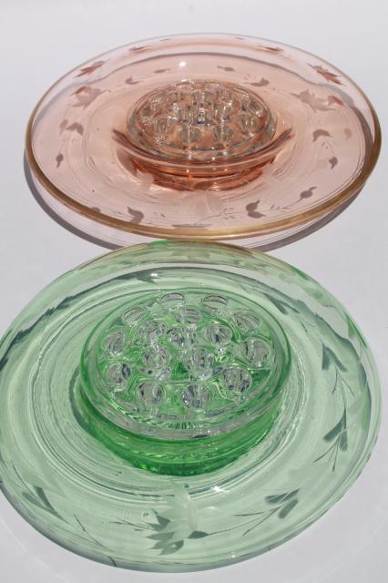 Vintage pink green depression glass floral centerpiece