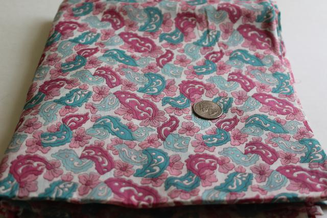 vintage pink, mint, teal paisley print fabric, fine soft light cotton batiste