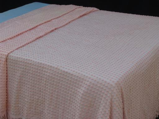 Attractive Vintage Pink Popcorn Chenille Bedspread, Light Weight Summer Cotton Bed  Cover