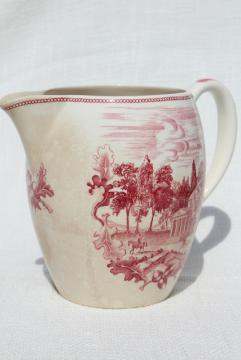 vintage pink red transferware china pitcher, Monticello Historic America Johnson Bros