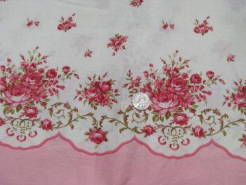 vintage pink roses border print cotton fabric for pillow slips & pillowcases