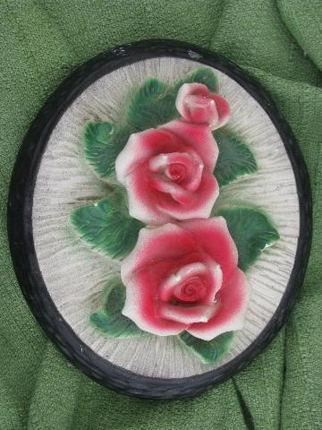 vintage pink roses chalkware wall art plaques, pair 'prints' in frames