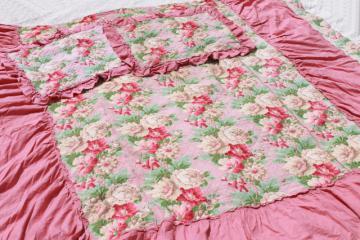 vintage pink roses print cotton barkcloth bedspread set, bed cover & pillow shams