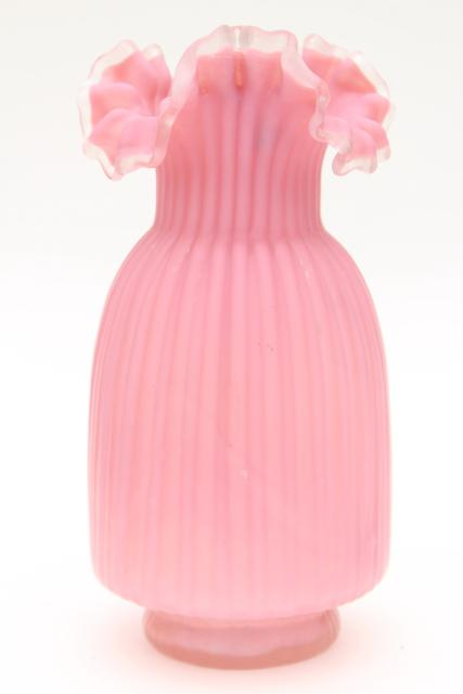 vintage pink satin frosted glass vase, Victorian art glass or Fenton reproduction?