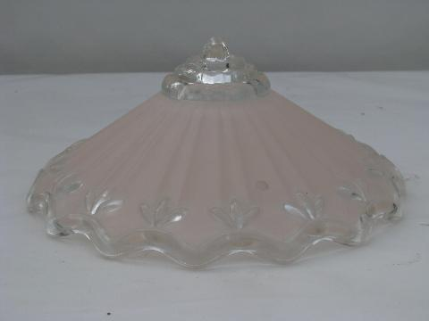 vintage pink & white glass lamp shade for pendant light fixture, ceiling lighting