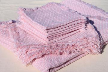 vintage pink & white heavy cotton weave handwoven homespun type tablecloth, placemats & napkins