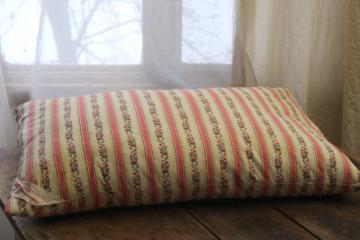 vintage pink & white print floral striped cotton ticking pillow w/ original label
