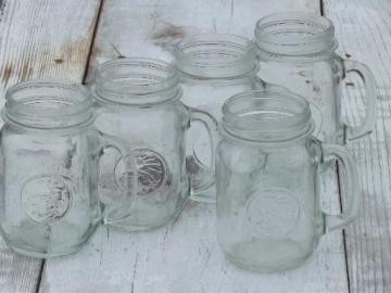 vintage pint canning jar mugs, Golden Harvest jelly glasses w/ handles