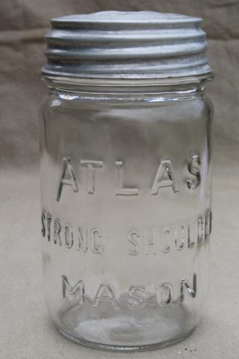 vintage pint size mason jars w/ zinc metal lids, antique glass canning jar lot