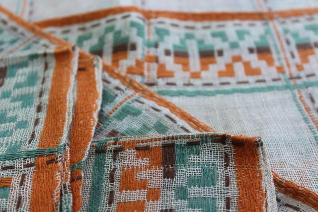 vintage placemats & napkins set, rustic woven linen in Santa Fe style southwest colors