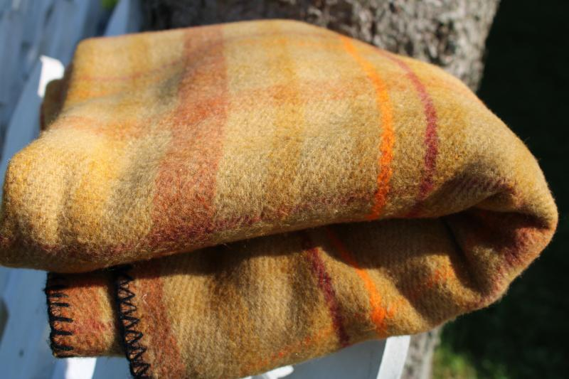 vintage plaid camp blanket in curry gold colors, soft thick plush acrylic Mexican blanket