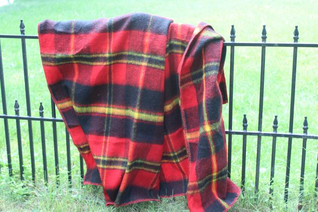 vintage plaid camp blanket throw, red black tartan woven acrylic, softer than wool