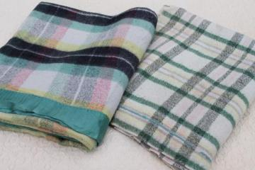 vintage plaid camp blankets, retro jade green / pink / black blanket plaids