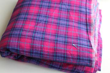 vintage plaid cotton flannel fabric, tartan in fuschia pink, purple, aqua