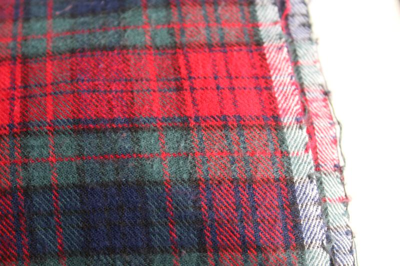 vintage plaid cotton flannel fabric, tartan in red, green, navy, black