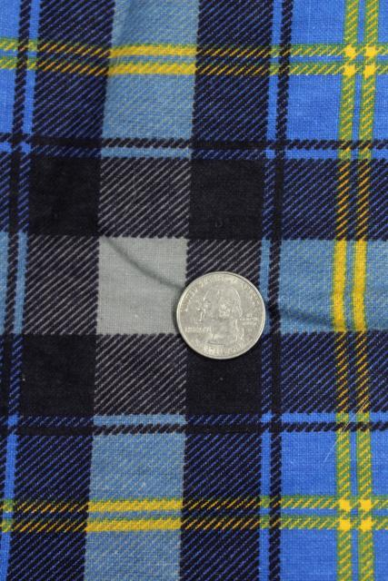 vintage plaid cotton flannel & work shirt fabric lot, retro shirtings sewing material